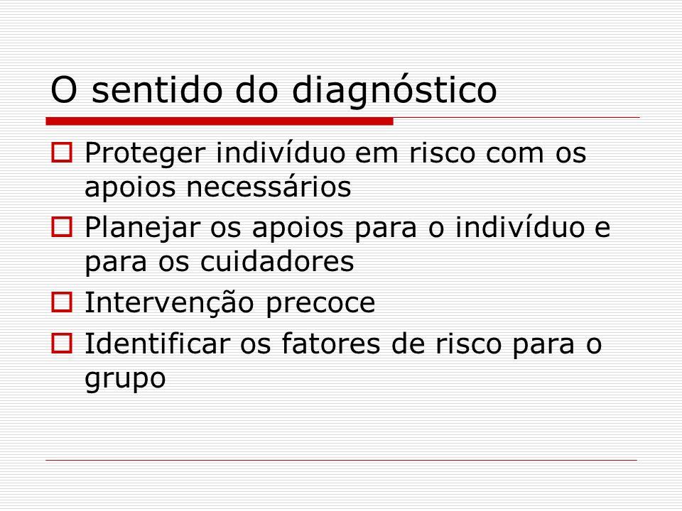 O sentido do diagnóstico Proteger indivíduo em risco com os apoios necessários Planejar os apoios para o indivíduo e para os cuidadores Intervenção pr