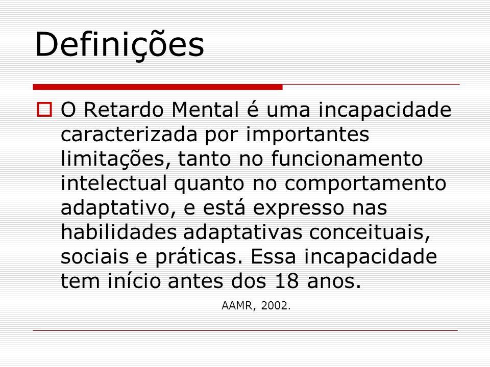 Definições O Retardo Mental é uma incapacidade caracterizada por importantes limitações, tanto no funcionamento intelectual quanto no comportamento ad