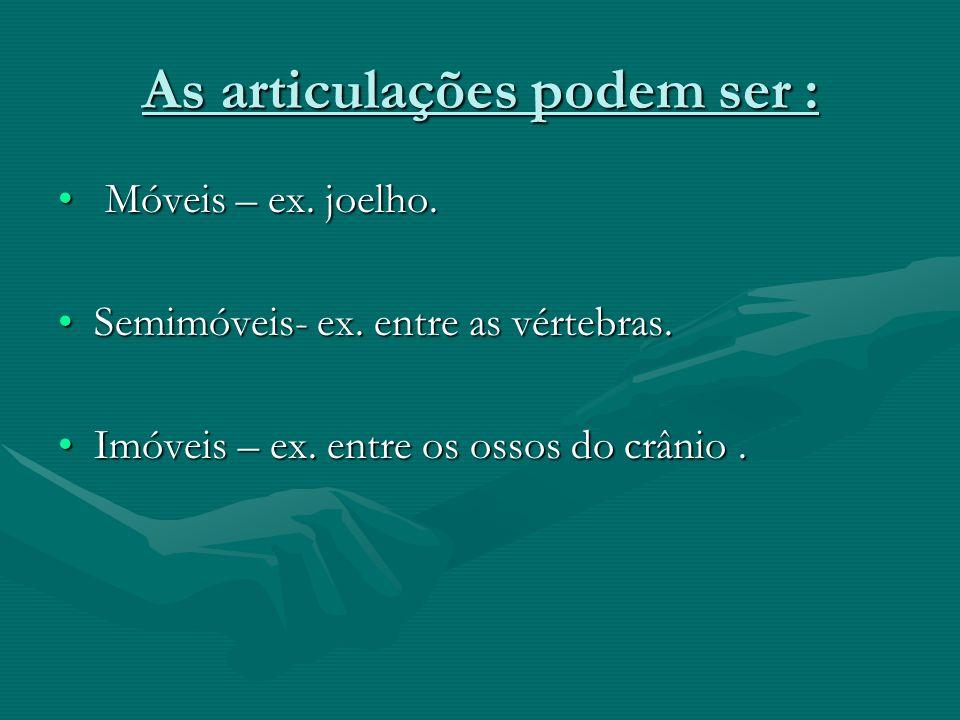 As articulações podem ser : Móveis – ex. joelho. Móveis – ex. joelho. Semimóveis- ex. entre as vértebras.Semimóveis- ex. entre as vértebras. Imóveis –
