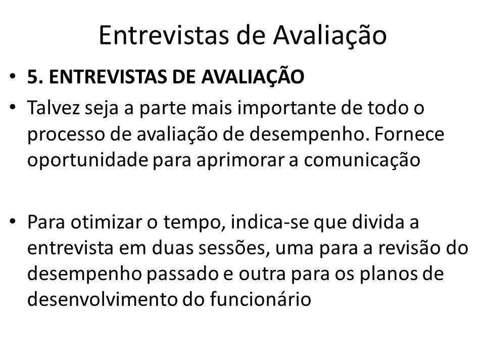 Entrevistas de Avaliação O formato da entrevista será determinado pelo objetivo, forma da entrevista e pelo sistema de avaliação empregado.