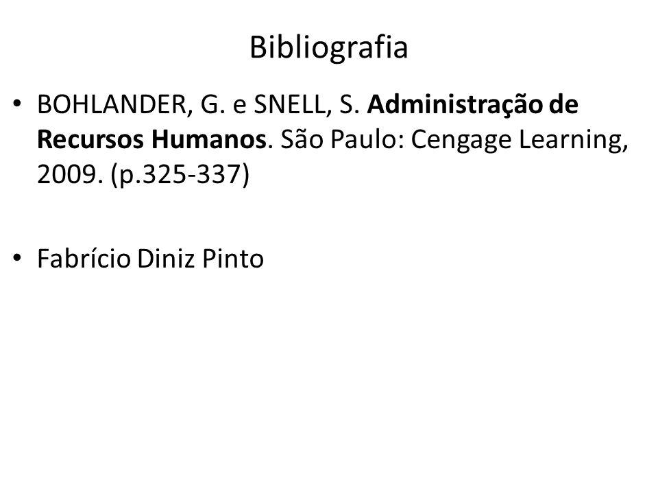 Bibliografia BOHLANDER, G. e SNELL, S. Administração de Recursos Humanos. São Paulo: Cengage Learning, 2009. (p.325-337) Fabrício Diniz Pinto