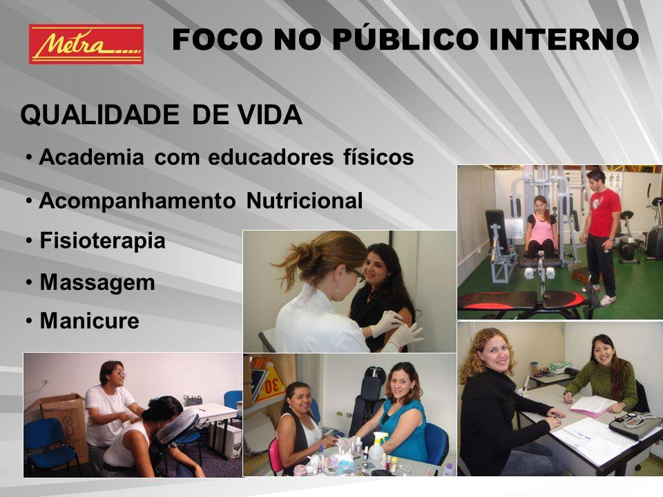 Academia com educadores físicos Acompanhamento Nutricional Fisioterapia Massagem Manicure FOCO NO PÚBLICO INTERNO QUALIDADE DE VIDA