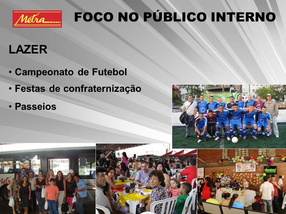 Campeonato de Futebol Festas de confraternização Passeios FOCO NO PÚBLICO INTERNO LAZER