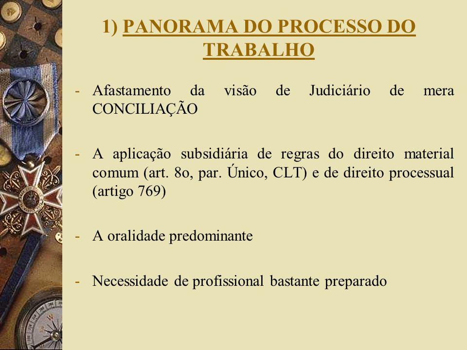 1) PANORAMA DO PROCESSO DO TRABALHO -Afastamento da visão de Judiciário de mera CONCILIAÇÃO -A aplicação subsidiária de regras do direito material com