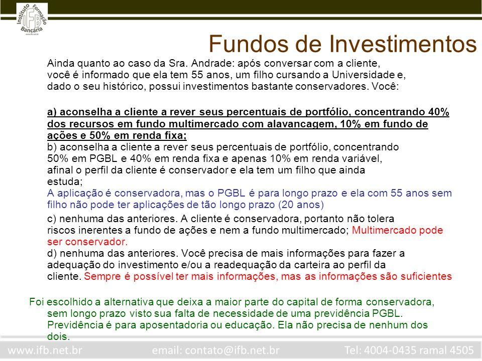 Fundos de Investimentos Para cobrança de taxa de performance de um fundo de ações, o benchmark e o ciclo de cobrança deverão ser, respectivamente a) CDI, semestral b) Ibovespa, semestral c) IGP-M, mensal d) Ibovespa, semestral Deve superar um becnhmark apropriado e ter um ciclo pelo menos semestral, ou seja, tem que compensar as perdas num mês no outro mês pelo menos, zerando as perdas de 6 em 6 meses.