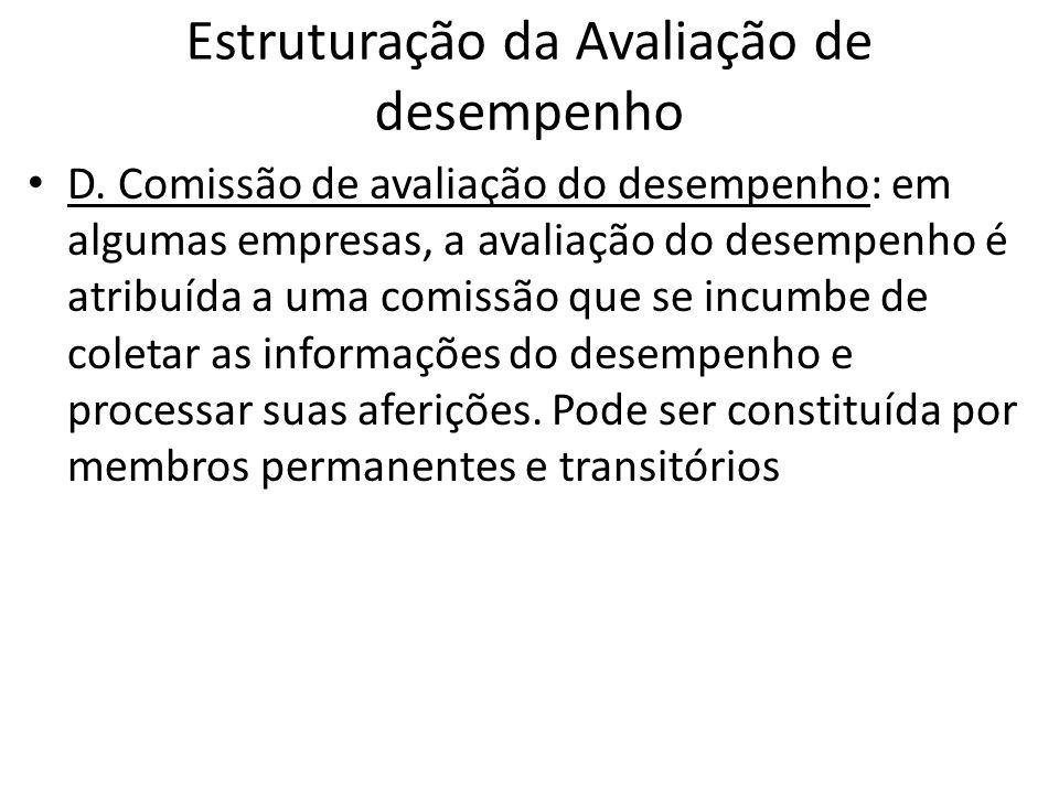Estruturação da Avaliação de desempenho D. Comissão de avaliação do desempenho: em algumas empresas, a avaliação do desempenho é atribuída a uma comis