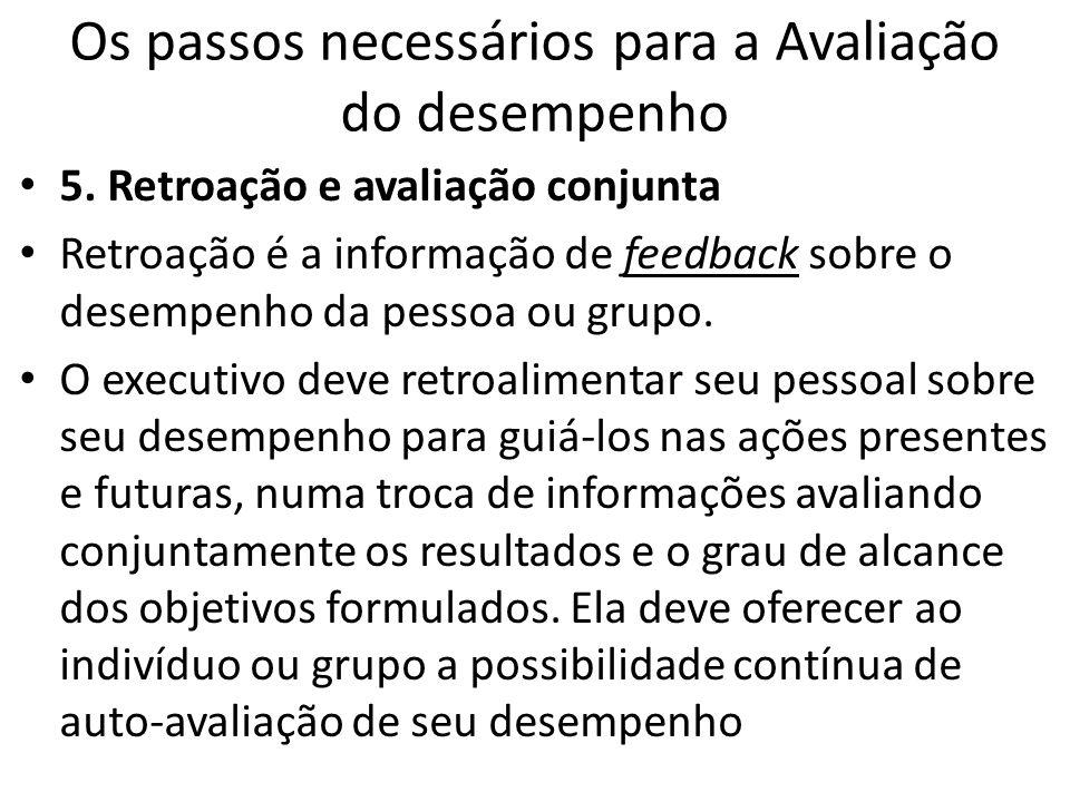Os passos necessários para a Avaliação do desempenho 5. Retroação e avaliação conjunta Retroação é a informação de feedback sobre o desempenho da pess