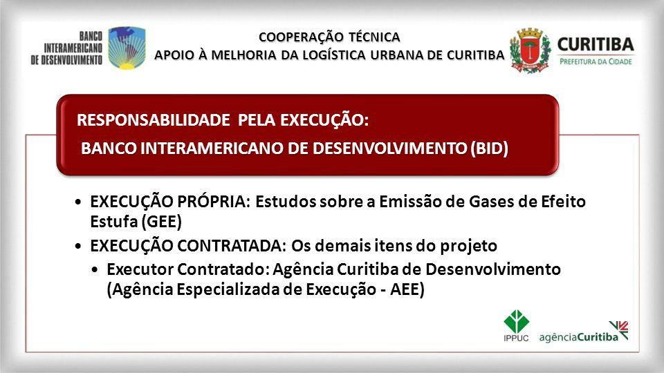 EXECUÇÃO PRÓPRIA: Estudos sobre a Emissão de Gases de Efeito Estufa (GEE) EXECUÇÃO CONTRATADA: Os demais itens do projeto Executor Contratado: Agência