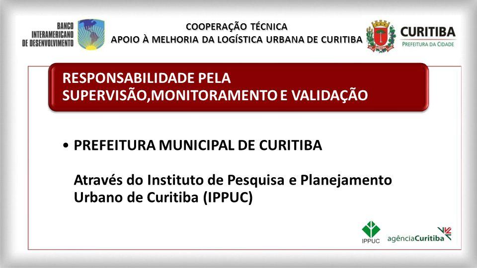 PREFEITURA MUNICIPAL DE CURITIBA Através do Instituto de Pesquisa e Planejamento Urbano de Curitiba (IPPUC) RESPONSABILIDADE PELA SUPERVISÃO,MONITORAM