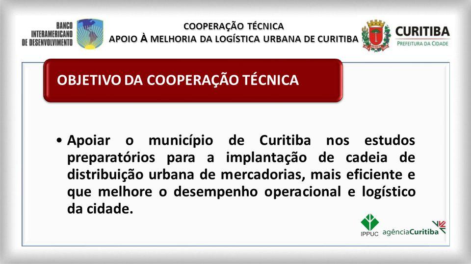 COOPERAÇÃO TÉCNICA APOIO À MELHORIA DA LOGÍSTICA URBANA DE CURITIBA Apoiar o município de Curitiba nos estudos preparatórios para a implantação de cad