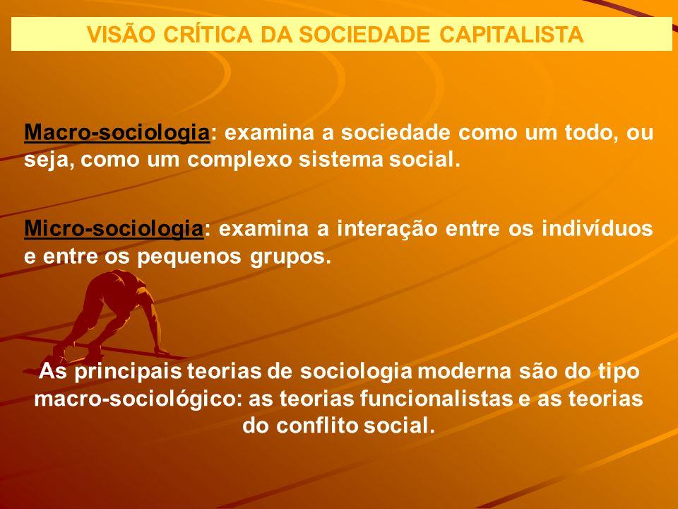 VISÃO CRÍTICA DA SOCIEDADE CAPITALISTA Macro-sociologia: examina a sociedade como um todo, ou seja, como um complexo sistema social. Micro-sociologia: