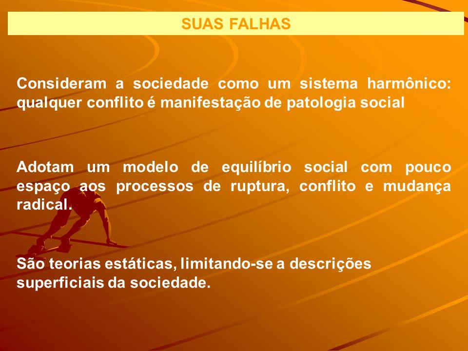 SUAS FALHAS Consideram a sociedade como um sistema harmônico: qualquer conflito é manifestação de patologia social Adotam um modelo de equilíbrio soci