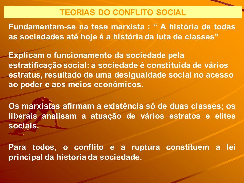 TEORIAS DO CONFLITO SOCIAL Fundamentam-se na tese marxista : A história de todas as sociedades até hoje é a história da luta de classes Explicam o fun