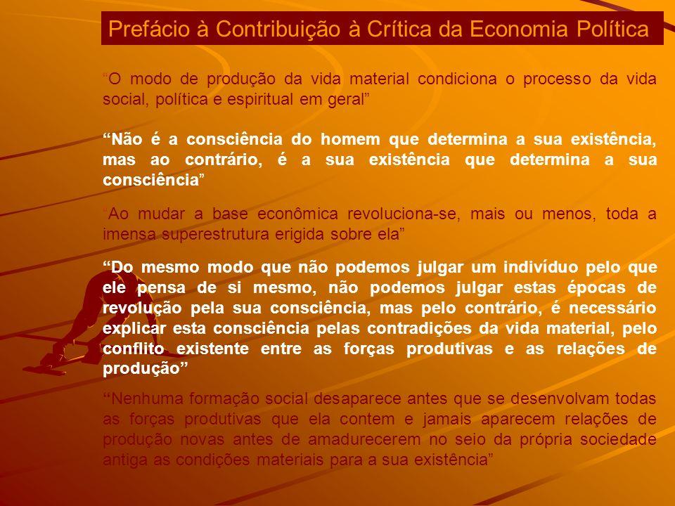 O modo de produção da vida material condiciona o processo da vida social, política e espiritual em geral Não é a consciência do homem que determina a