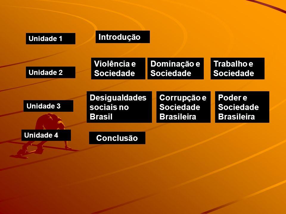 Unidade 1 Unidade 2 Unidade 3 Unidade 4 Violência e Sociedade Dominação e Sociedade Trabalho e Sociedade Introdução Desigualdades sociais no Brasil Co