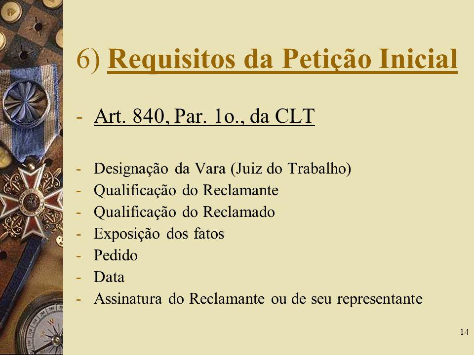 14 6) Requisitos da Petição Inicial -Art. 840, Par. 1o., da CLT -Designação da Vara (Juiz do Trabalho) -Qualificação do Reclamante -Qualificação do Re