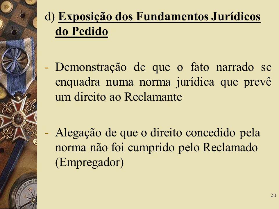 20 d) Exposição dos Fundamentos Jurídicos do Pedido -Demonstração de que o fato narrado se enquadra numa norma jurídica que prevê um direito ao Reclam