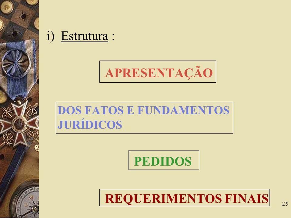 25 i) Estrutura : APRESENTAÇÃO DOS FATOS E FUNDAMENTOS JURÍDICOS PEDIDOS REQUERIMENTOS FINAIS