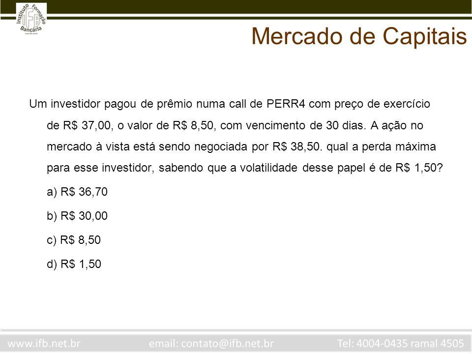 Um investidor pagou de prêmio numa call de PERR4 com preço de exercício de R$ 37,00, o valor de R$ 8,50, com vencimento de 30 dias. A ação no mercado