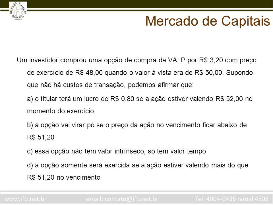 Um investidor comprou uma opção de compra da VALP por R$ 3,20 com preço de exercício de R$ 48,00 quando o valor à vista era de R$ 50,00. Supondo que n