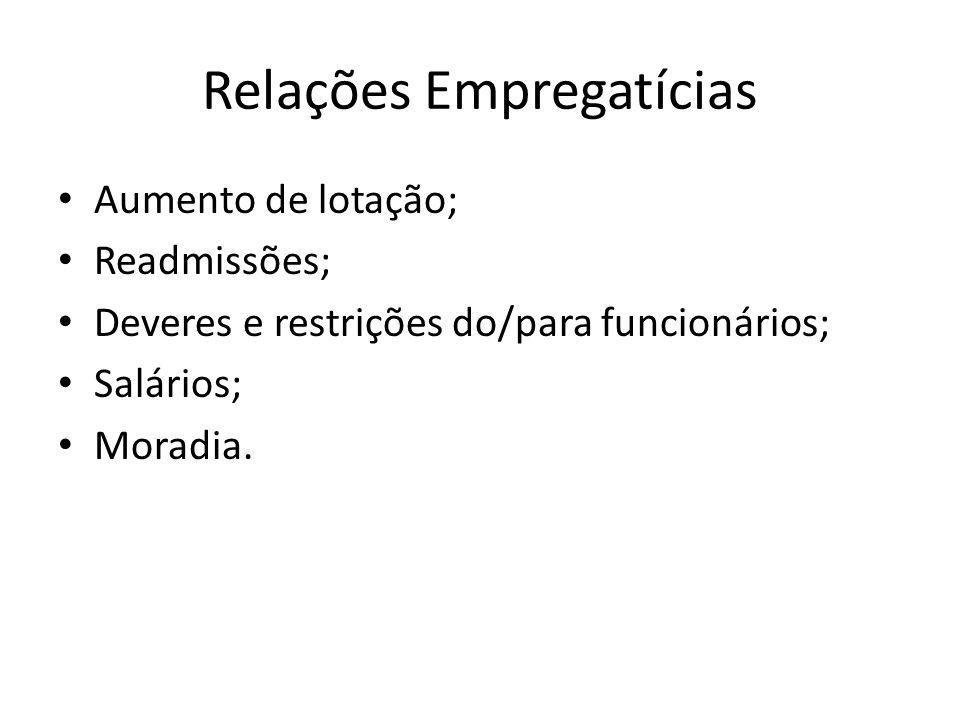 Relações Empregatícias Aumento de lotação; Readmissões; Deveres e restrições do/para funcionários; Salários; Moradia.