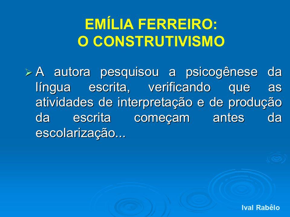 EMÍLIA FERREIRO: O CONSTRUTIVISMO A autora pesquisou a psicogênese da língua escrita, verificando que as atividades de interpretação e de produção da