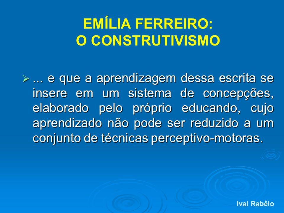 EMÍLIA FERREIRO: O CONSTRUTIVISMO... e que a aprendizagem dessa escrita se insere em um sistema de concepções, elaborado pelo próprio educando, cujo a