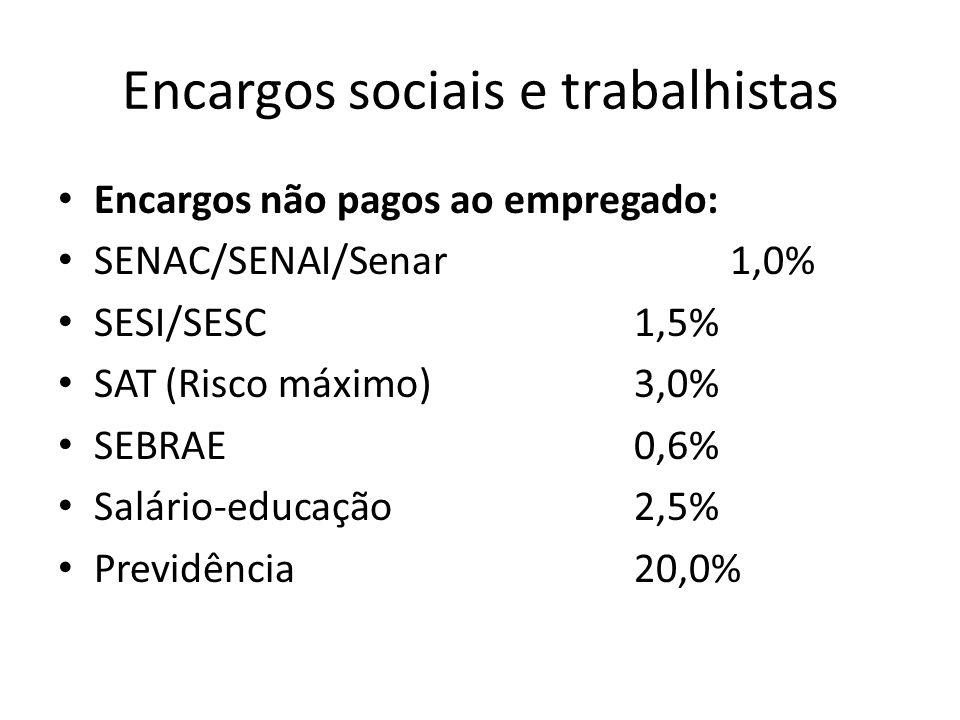 Encargos sociais e trabalhistas Encargos não pagos ao empregado: SENAC/SENAI/Senar1,0% SESI/SESC1,5% SAT (Risco máximo)3,0% SEBRAE0,6% Salário-educaçã