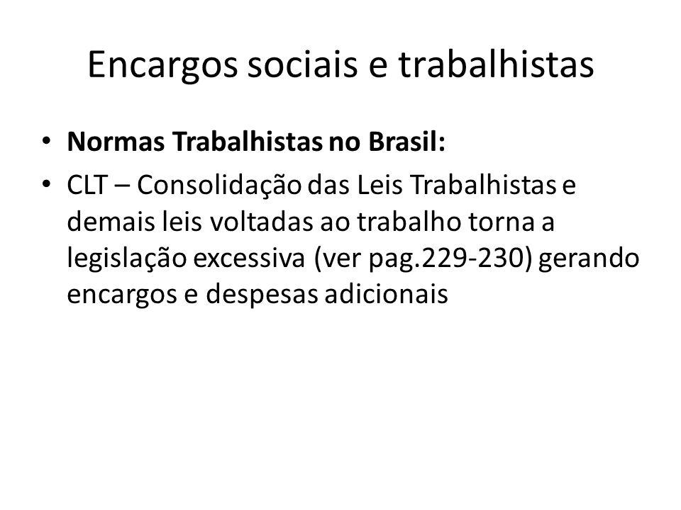 Encargos sociais e trabalhistas Normas Trabalhistas no Brasil: CLT – Consolidação das Leis Trabalhistas e demais leis voltadas ao trabalho torna a leg