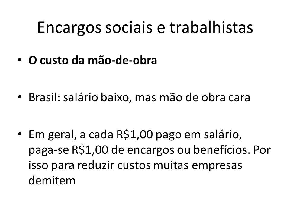 Encargos sociais e trabalhistas O custo da mão-de-obra Brasil: salário baixo, mas mão de obra cara Em geral, a cada R$1,00 pago em salário, paga-se R$