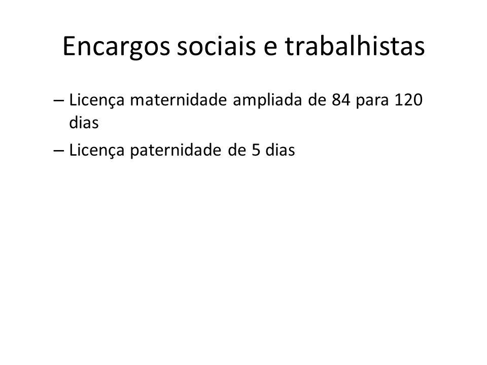 Encargos sociais e trabalhistas – Licença maternidade ampliada de 84 para 120 dias – Licença paternidade de 5 dias