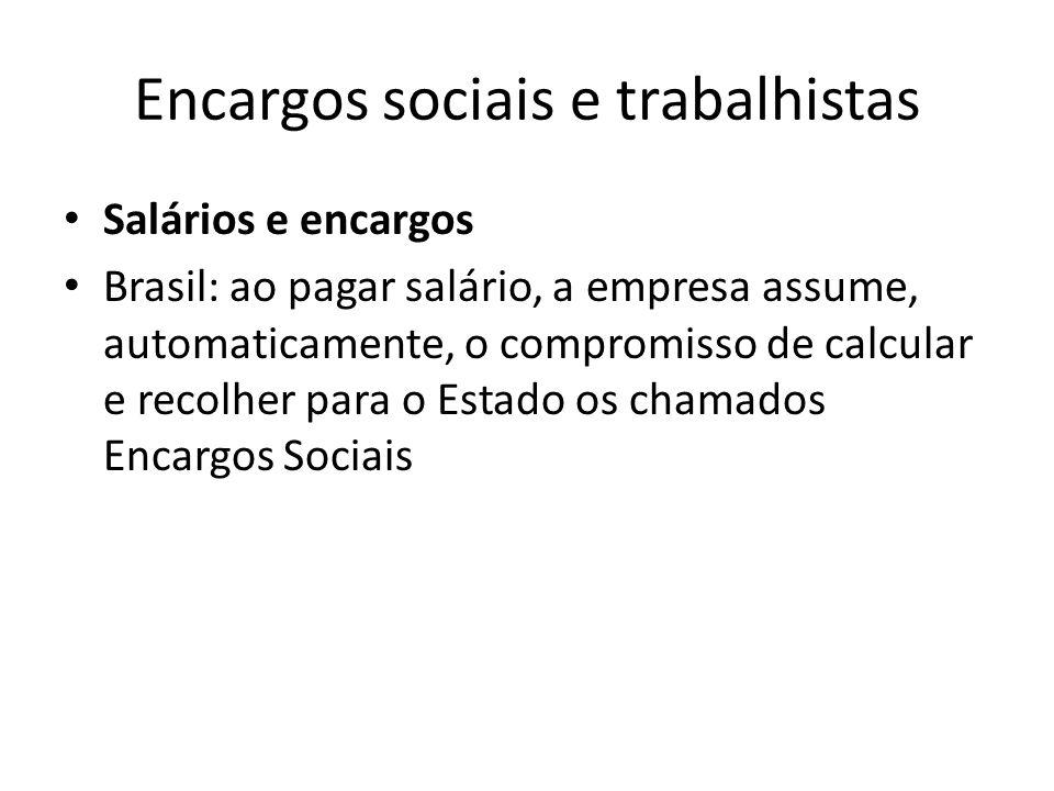 Encargos sociais e trabalhistas Salários e encargos Brasil: ao pagar salário, a empresa assume, automaticamente, o compromisso de calcular e recolher