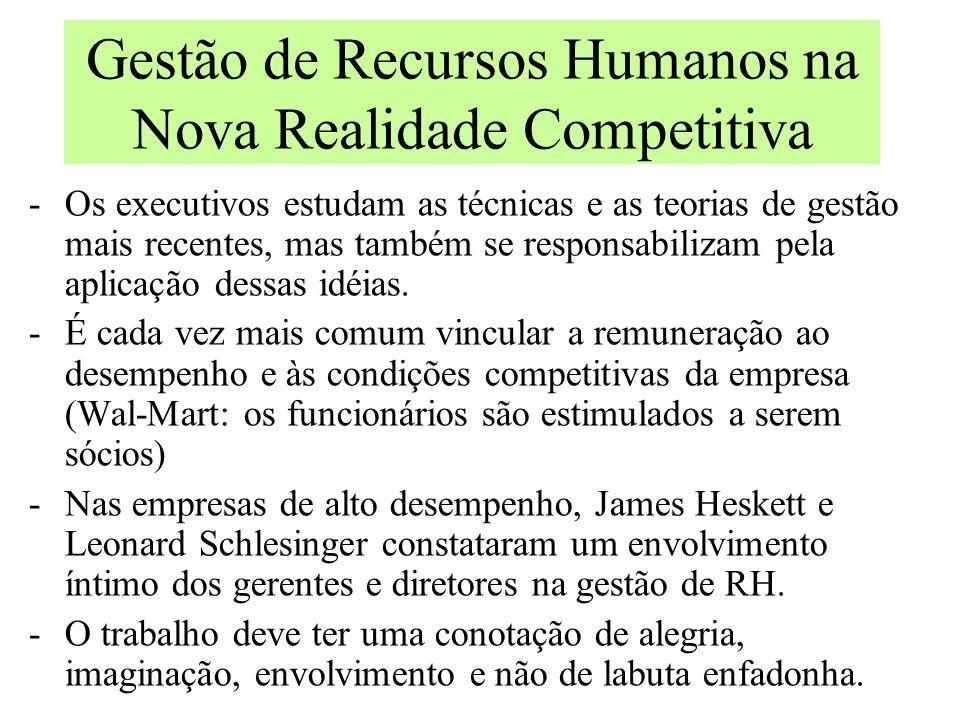 Gestão de Recursos Humanos na Nova Realidade Competitiva De simples execução de rotinas administrativas para o desempenho de funções estratégicas: - o