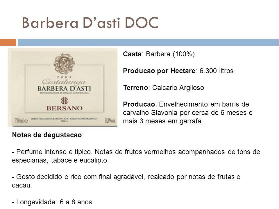 Barbera Dasti DOC Casta: Barbera (100%) Producao por Hectare: 6.300 litros Terreno: Calcario Argiloso Producao: Envelhecimento em barris de carvalho S