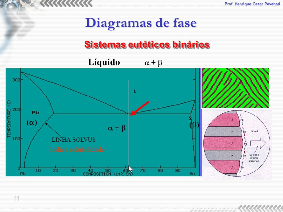 Prof. Henrique Cezar Pavanati Diagramas de fase 11 Líquido + LINHA SOLVUS ( ) + Indica solubilidade Sistemas eutéticos binários