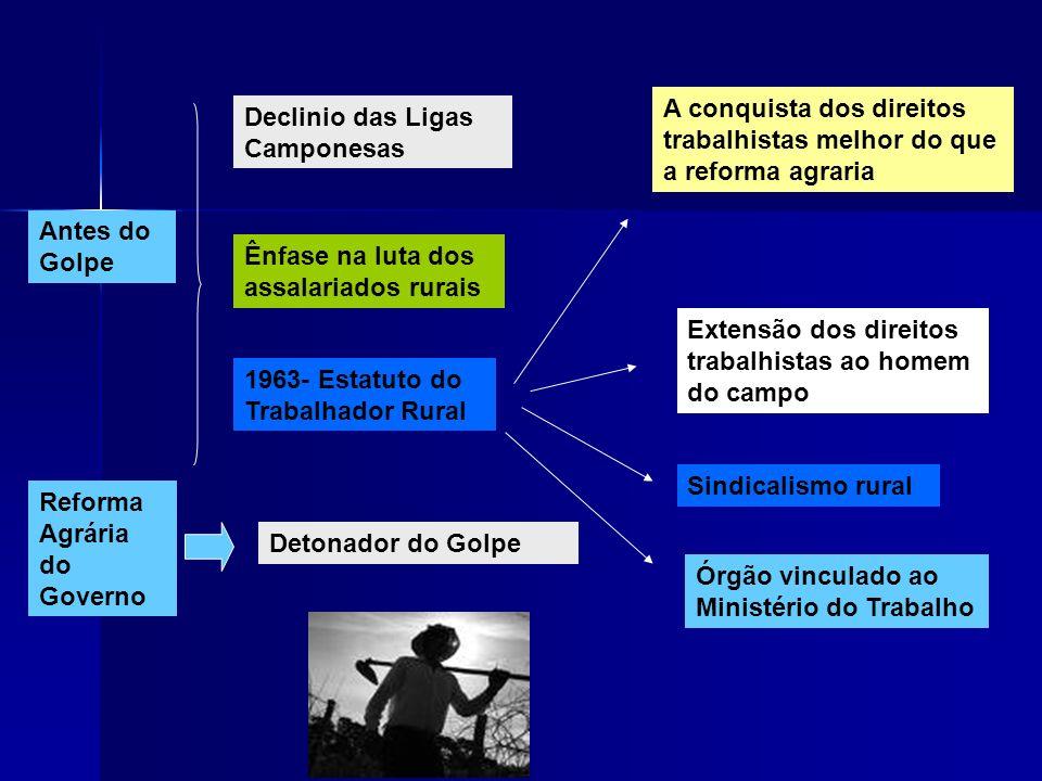 Antes do Golpe Declinio das Ligas Camponesas Ênfase na luta dos assalariados rurais A conquista dos direitos trabalhistas melhor do que a reforma agra
