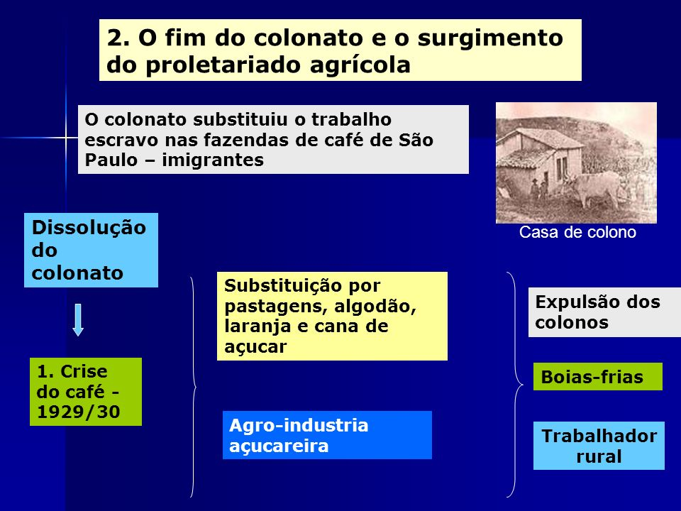 2. O fim do colonato e o surgimento do proletariado agrícola O colonato substituiu o trabalho escravo nas fazendas de café de São Paulo – imigrantes D