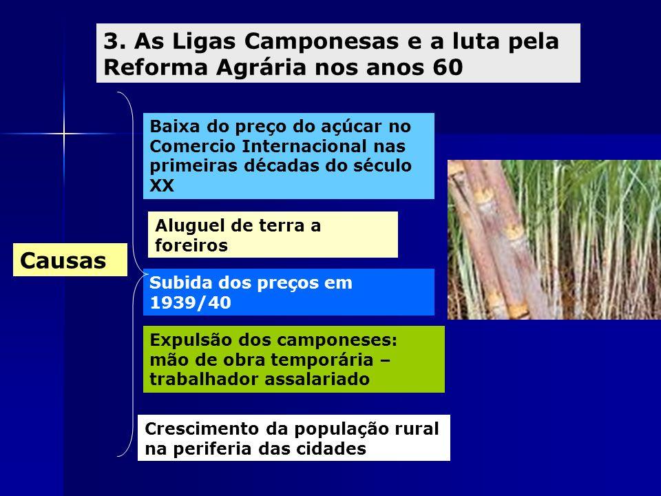 3. As Ligas Camponesas e a luta pela Reforma Agrária nos anos 60 Causas Baixa do preço do açúcar no Comercio Internacional nas primeiras décadas do sé