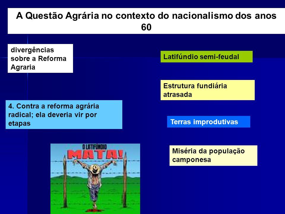 divergências sobre a Reforma Agraria 4. Contra a reforma agrária radical; ela deveria vir por etapas Latifúndio semi-feudal Estrutura fundiária atrasa