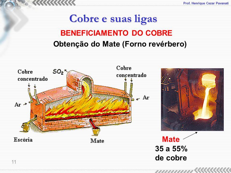 Prof. Henrique Cezar Pavanati Cobre e suas ligas 11 BENEFICIAMENTO DO COBRE Obtenção do Mate (Forno revérbero) Mate 35 a 55% de cobre