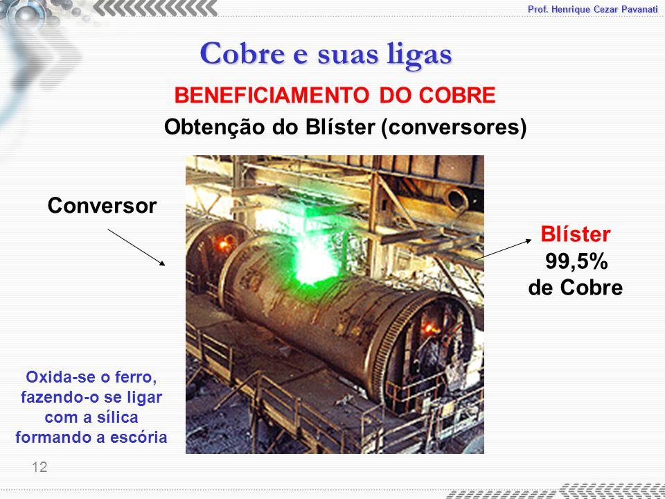 Prof. Henrique Cezar Pavanati Cobre e suas ligas 12 BENEFICIAMENTO DO COBRE Obtenção do Blíster (conversores) Blíster 99,5% de Cobre Conversor Oxida-s