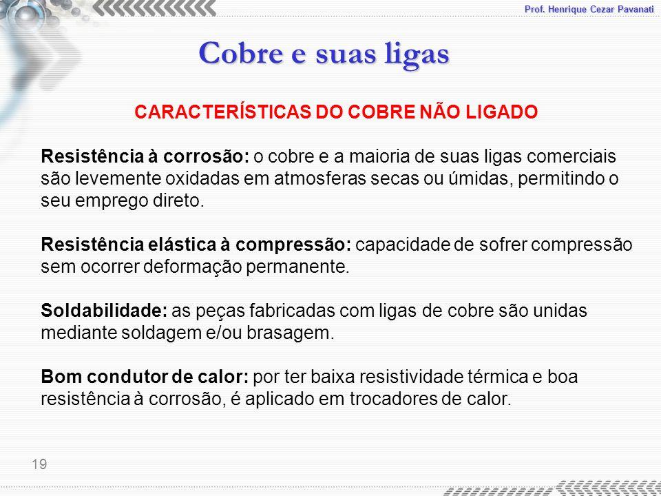 Prof. Henrique Cezar Pavanati Cobre e suas ligas 19 CARACTERÍSTICAS DO COBRE NÃO LIGADO Resistência à corrosão: o cobre e a maioria de suas ligas come