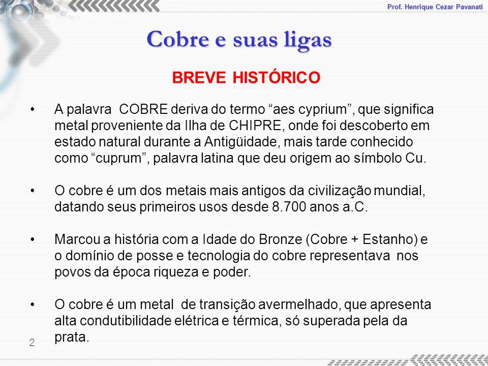 Prof. Henrique Cezar Pavanati Cobre e suas ligas 2 A palavra COBRE deriva do termo aes cyprium, que significa metal proveniente da Ilha de CHIPRE, ond