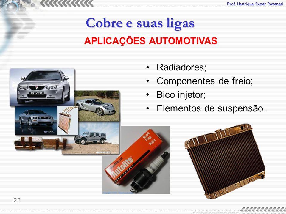 Prof. Henrique Cezar Pavanati Cobre e suas ligas 22 APLICAÇÕES AUTOMOTIVAS Radiadores; Componentes de freio; Bico injetor; Elementos de suspensão.