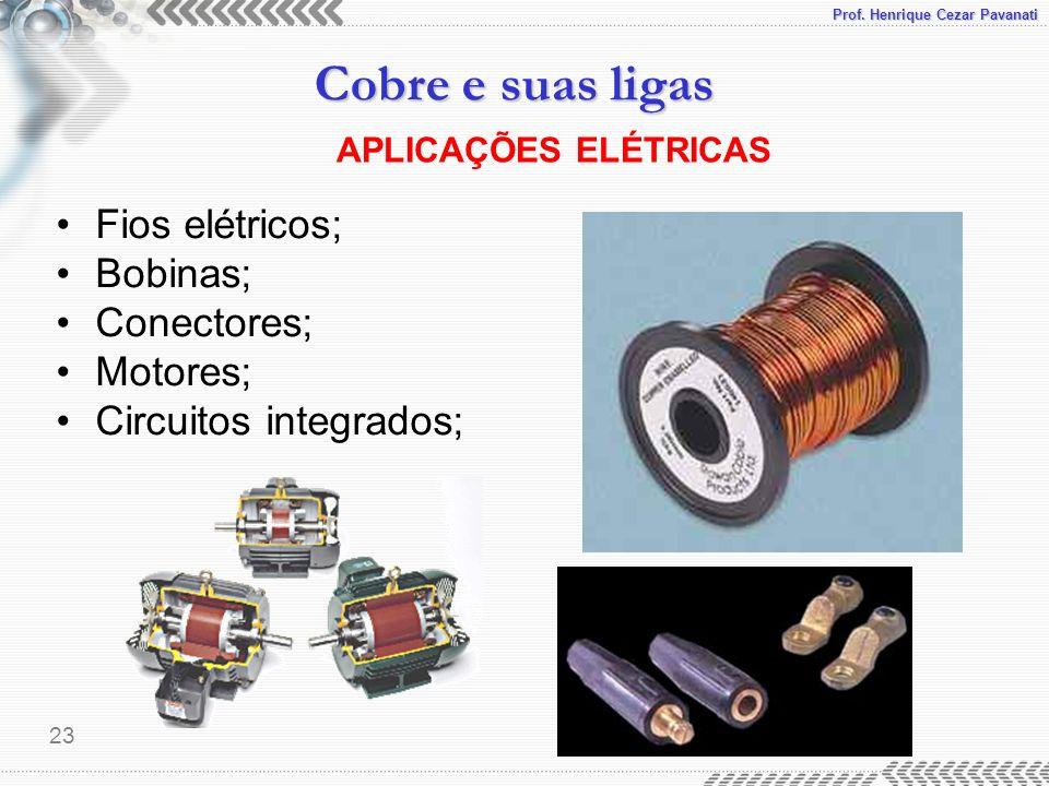 Prof. Henrique Cezar Pavanati Cobre e suas ligas 23 APLICAÇÕES ELÉTRICAS Fios elétricos; Bobinas; Conectores; Motores; Circuitos integrados;