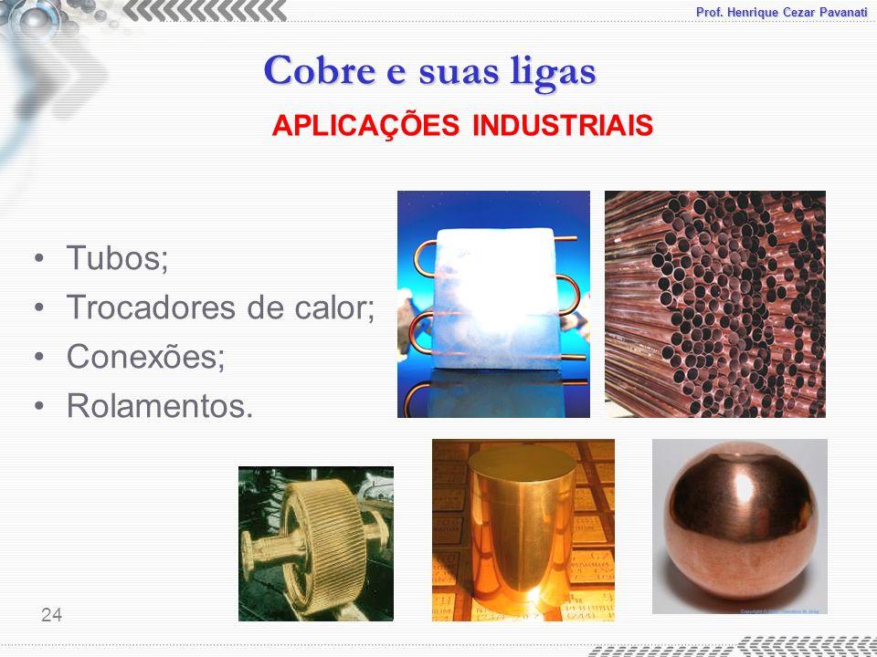Prof. Henrique Cezar Pavanati Cobre e suas ligas 24 APLICAÇÕES INDUSTRIAIS Tubos; Trocadores de calor; Conexões; Rolamentos.