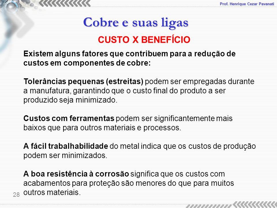 Prof. Henrique Cezar Pavanati Cobre e suas ligas 28 Existem alguns fatores que contribuem para a redução de custos em componentes de cobre: Tolerância