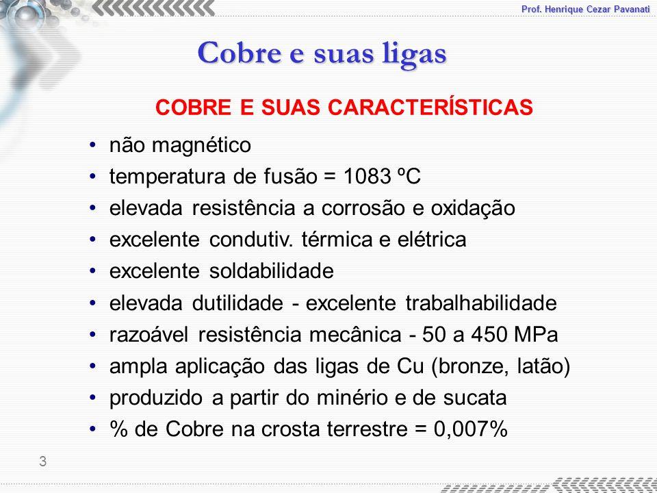 Prof. Henrique Cezar Pavanati Cobre e suas ligas 3 COBRE E SUAS CARACTERÍSTICAS não magnético temperatura de fusão = 1083 ºC elevada resistência a cor