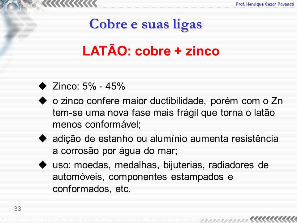 Prof. Henrique Cezar Pavanati Cobre e suas ligas 33 LATÃO: cobre + zinco uZinco: 5% - 45% uo zinco confere maior ductibilidade, porém com o Zn tem-se