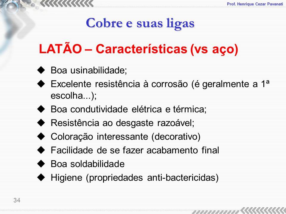 Prof. Henrique Cezar Pavanati Cobre e suas ligas 34 LATÃO – Características (vs aço) uBoa usinabilidade; uExcelente resistência à corrosão (é geralmen